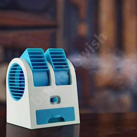 Mini Small USB Air Cooling Fan - Portable Dual Bladeless Air Conditioner