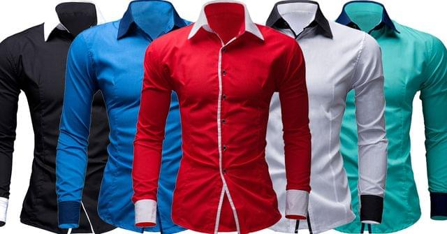 Combo of 5 fashion collection Long Sleeve Slim Fit Striped Men's Cotton Shirts