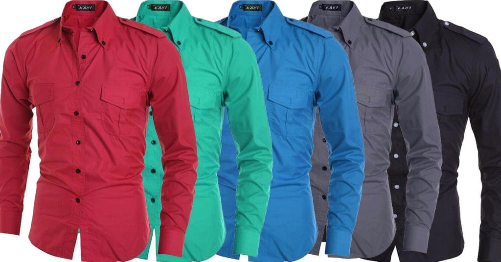 Combo of 5 New long sleeves branded men's casual men's Slim Fit double pocket decorations shirts