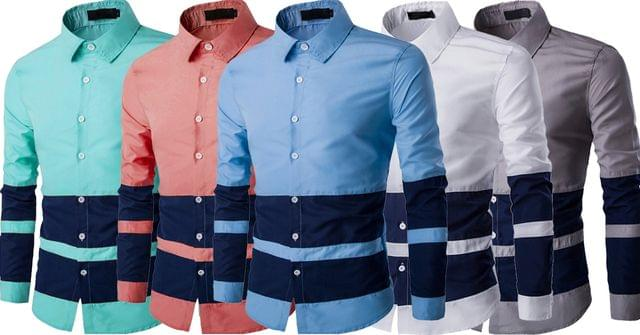 Combo of 5 New Branded Casual Fashion Long Sleeve Stripes Patchwork Men's Shirts