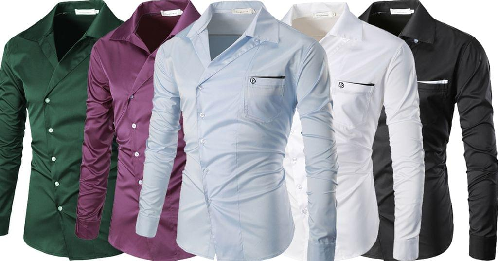 Combo of 5 New Branded clothing with long sleeves Casual monophonic shirts for men