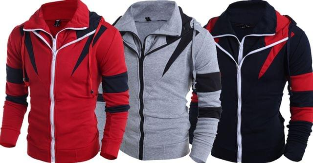 Combo of New 3 Double Zipper Patchwork Assassins Creed Sweatshirts Hoodies for Teenager