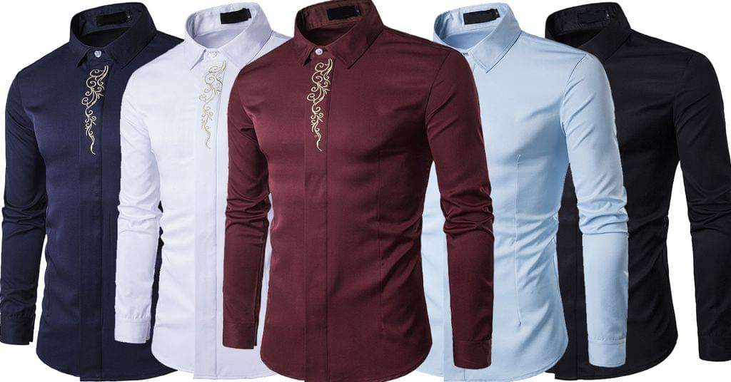 Combo of 5 New Luxury Branded Long Sleeve High Quality Print Slim Fit Shirts for Men