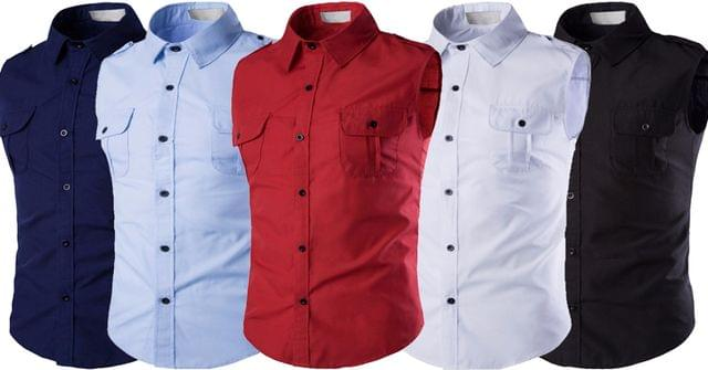 Combo of 5 New Branded Multi-Color Style Sleeveless  Casual Shirts Square Collar For Teenager