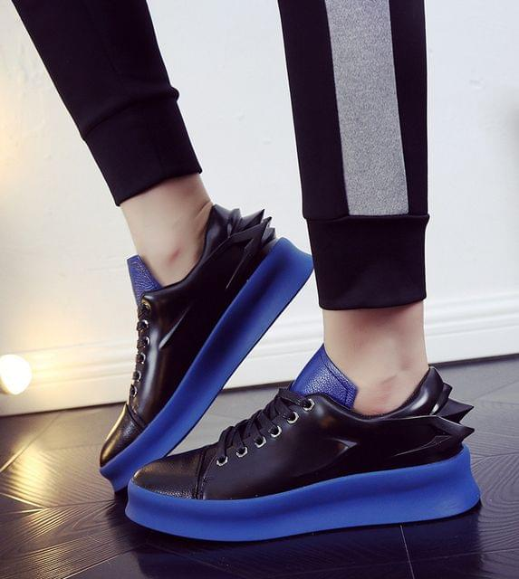 New fashion Lace-Up Shoes without heels luxurious popular Youth indi-vation Blue color Shoes