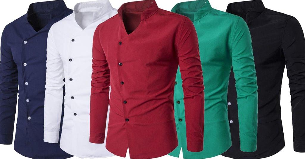 Combo of 5 New Fashionable Cotton Stand Collar Party wear Slim Fit Long-Sleeve shirts for men