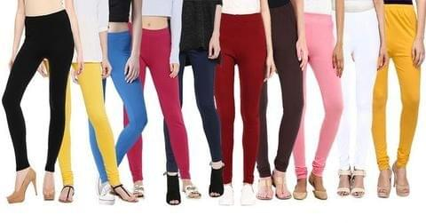 Stylish Multi color Women's Cotton Leggings (Combo Of 10)