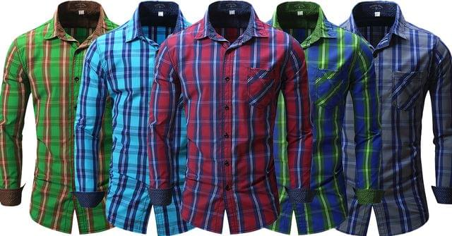 Combo of 5 long sleeve Casual denim Style checks Shirts for Men