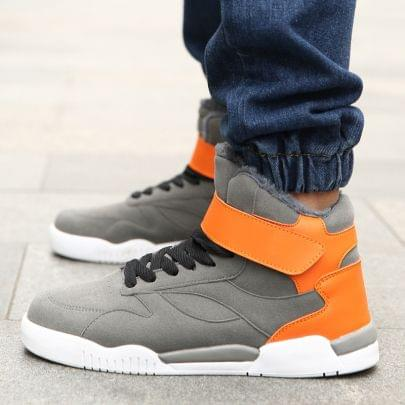 New Branded Lace Up High Tops Stylish Comfort Grey & Orange Color Combination Shoe for Men