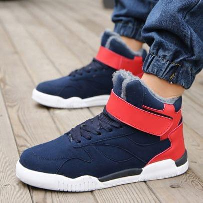 New Branded Lace Up High Tops Stylish Comfort Blue & Red Color Combination Shoe for Men