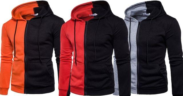 Combo of 3 New Splicing fleece hip-hop sweatshirt with hood men's Hoodies