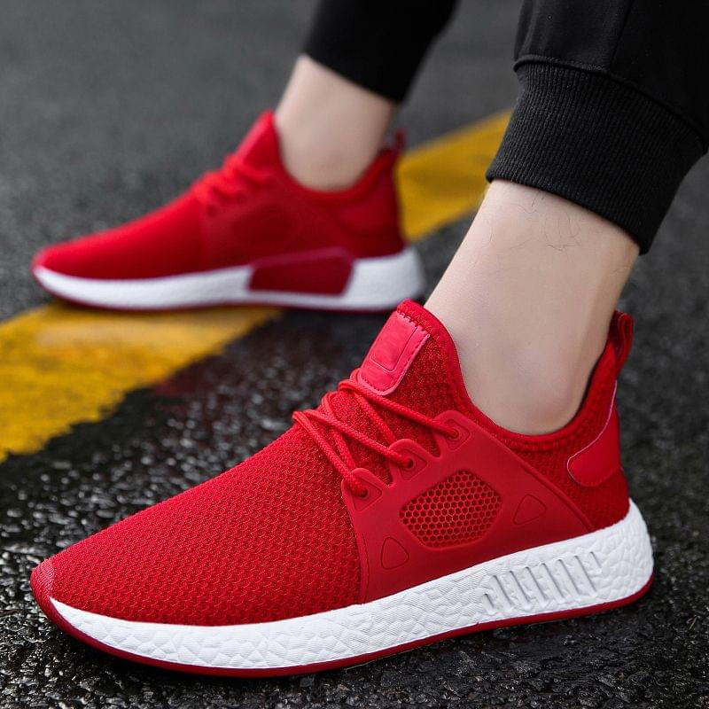 New Branded Athletic Lightweight Breathable Red Color Sports Shoes for Men
