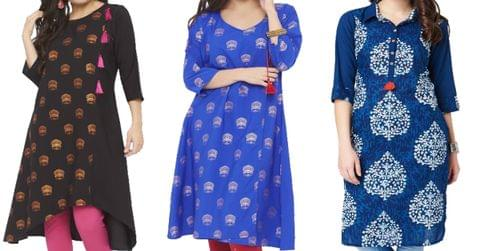 Combo of 3 Indian fashion Printed Women's comfort A-line Kurtis (3 unique design and color)