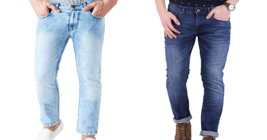 Combo of 2 Branded Skinny Look  Men's Light and Dark Blue Jeans