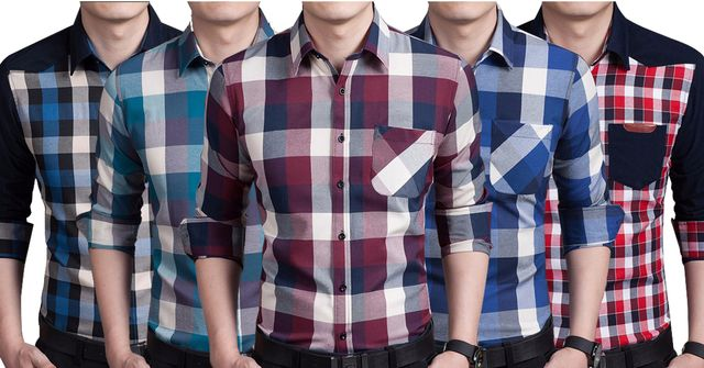 Combo of 5 New long-sleeved plaid Style fashion business Slim Fit cotton shirts for men
