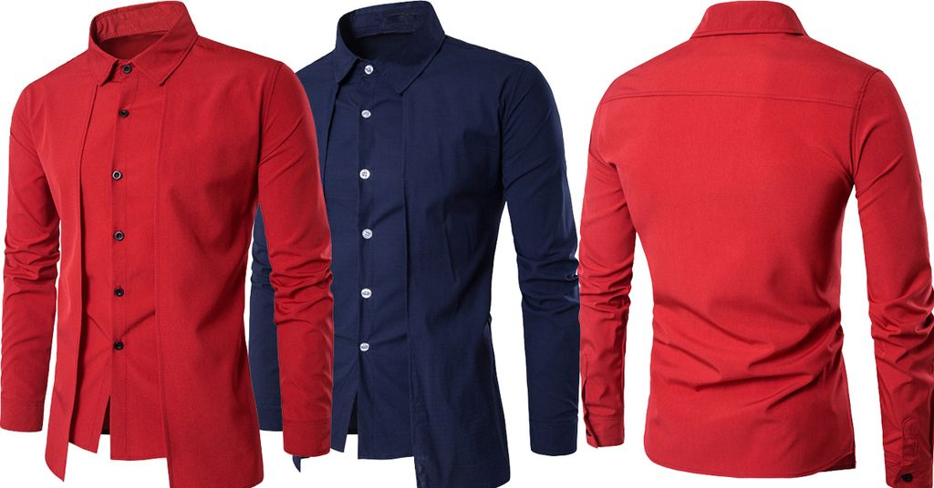 Combo of 2 Branded Luxury Stylish Slim Fit with Long Sleeve Red and Blue color Tops Corrective Fake 2-Item Shirts for Men