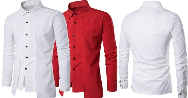 Combo of 2 Branded Luxury Stylish Slim Fit with Long Sleeve Red and white color Tops Corrective Fake 2-Item Shirts for Men