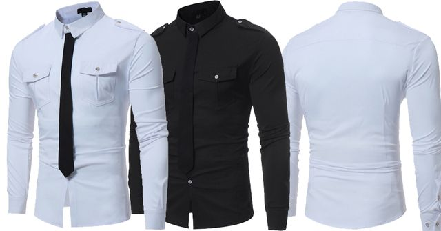 Combo of 2 Unique Style Fake Tie Pocket Slim Fit Black and white Color Leisure Men's Button Shirts