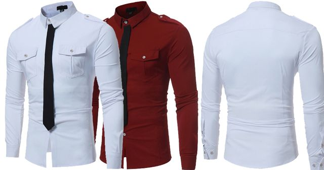 Combo of 2 Unique Style Fake Tie Pocket Slim Fit White and Red Color Leisure Men's Button Shirts