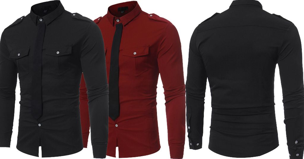 Combo of 2 Unique Style Fake Tie Pocket Slim Fit Black and red Color Leisure Men's Button Shirts
