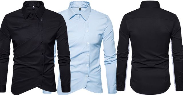 Combo of 2 Black and Skyblue Inclined Button Solid Color Slim Fit Men's Vogue Shirts