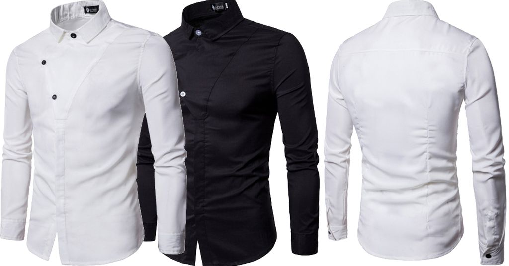 Combo of 2 New Fashionable Black and white color and unique Button Decorated Solid Color Slim Fit Men's Shirts