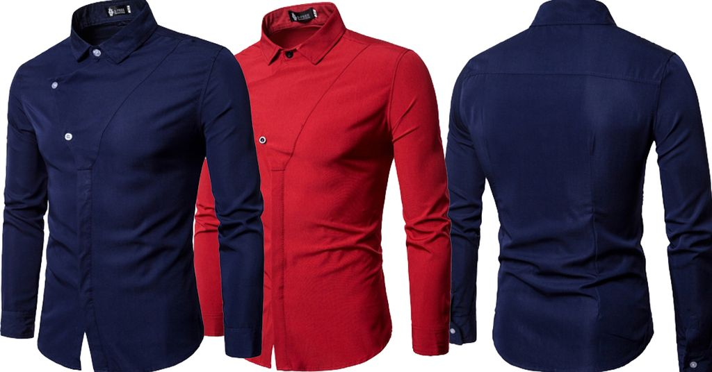 Combo of 2 New Fashionable Blue and red color and unique Button Decorated Solid Color Slim Fit Men's Shirts