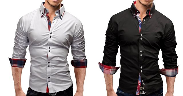 Combo of 2 New branded Slim Fit long sleeves Black and white color Casual shirts for men