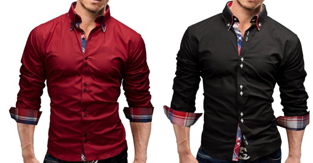 Combo of 2 New branded Slim Fit long sleeves Black and red color Casual shirts for men