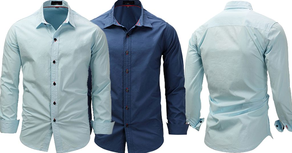 Combo of 2 New Fashion Long Sleeve Solid Color Shirts for Men