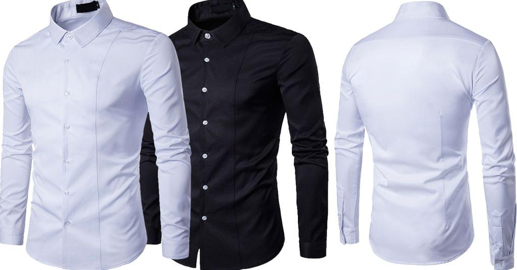 Combo of 2 New Fashion Casual Long Sleeve popular Slim Fit solid color Men's Shirts