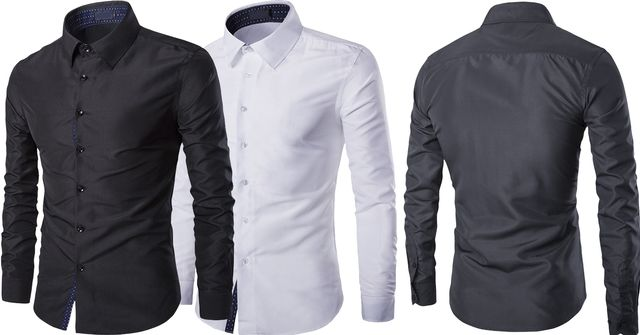 Combo of 2 New Fashion Casual Long Sleeve Elastic Slim Fit Men's Shirts