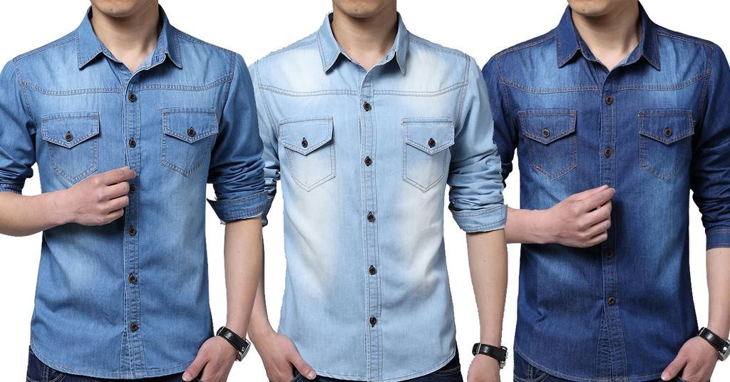 Combo of 3 Fashion Demi-season corrective Vintage wash with front pocket with long sleeves denim shirts for men