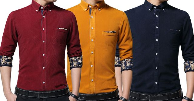 COMBO OF 3 DIFFERENT COLOR LUXURY SLIM FIT CASUAL SHIRTS