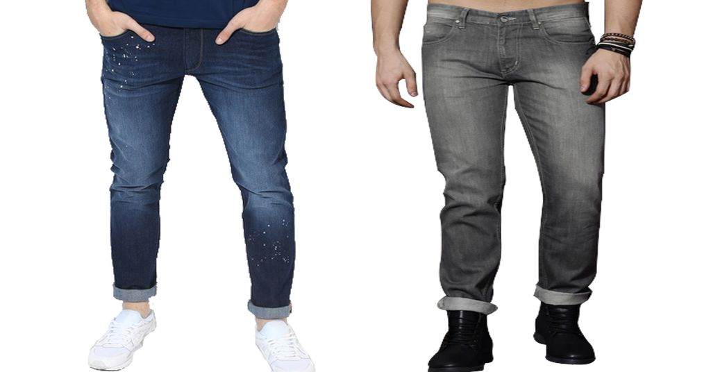Combo of 2 Branded Blue Washed & Grey Mid Rise Slim Fit Jeans for Men