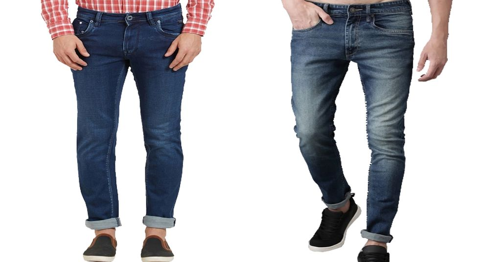 Combo of 2 Branded Blue Washed & Blue Mid Rise Skinny Fit Jeans for Men