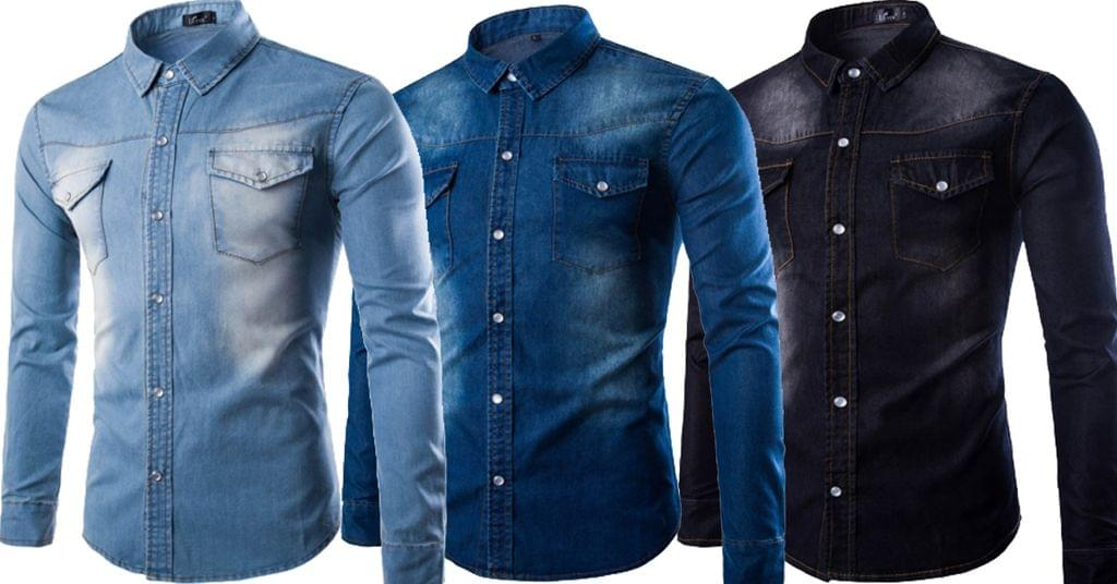 Combo of 3 Branded Single-Breasted Casual Slim Fit Men's Denim Shirts