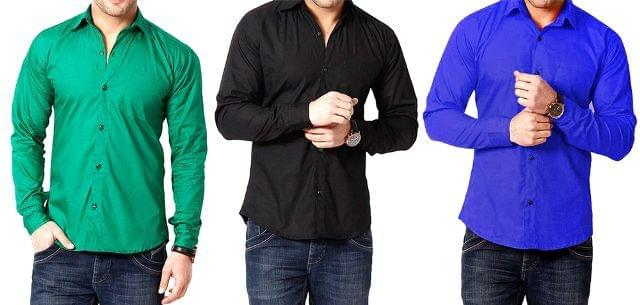 Combo Of 3 Branded Multicolour Men's Shirts