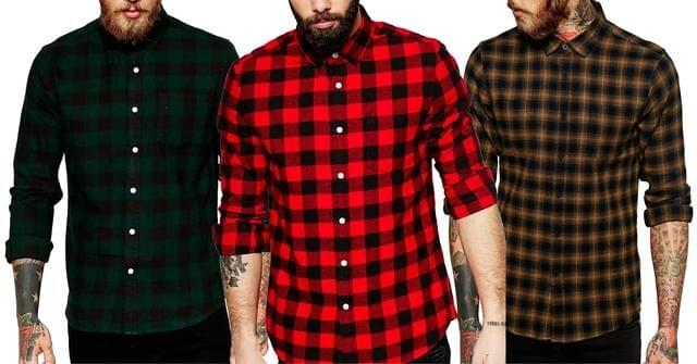 Combo of 3 Check Slim Fit Shirts for Men