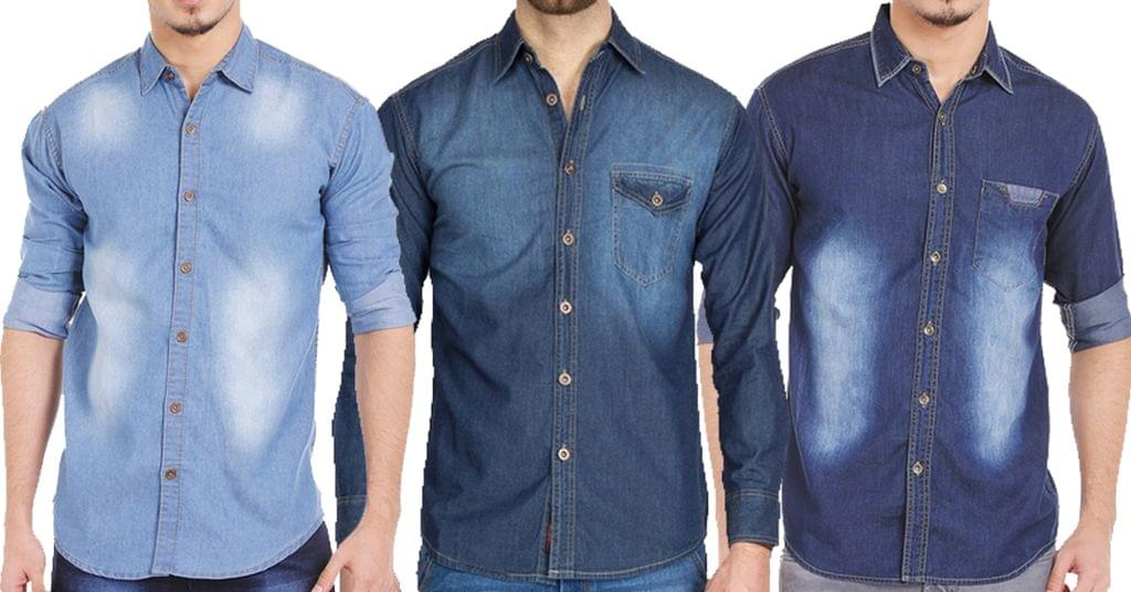 Combo of 3 Different Style Blue Washed Slim Fit Denim Shirts for Men