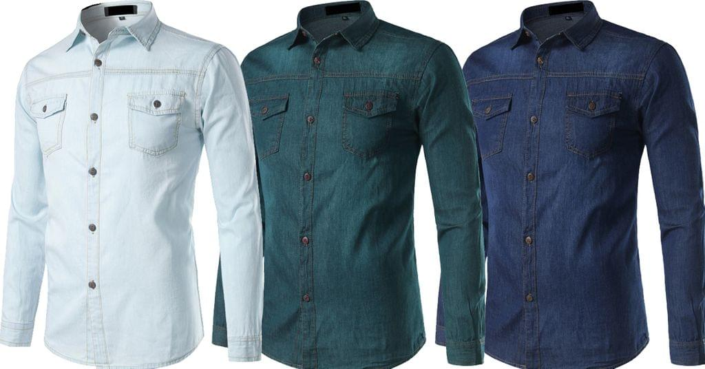 Combo of 3 Branded Long Sleeve Casual Slim Fit Cotton Denim shirts for Men
