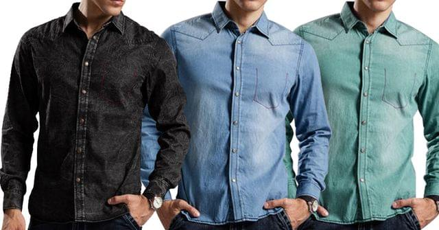 Combo of 3 New Branded 100% Cotton Breathable Long Sleeve Denim Slim Fit High Quality Jeans Shirts