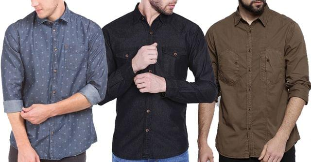 Combo of 3 Multi Stylish different look denim shirts for Men