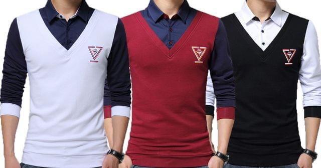 Combo of 3 Unique Design Collar Patchwork Long Sleeve Slim Fit Pullover Shirt Men