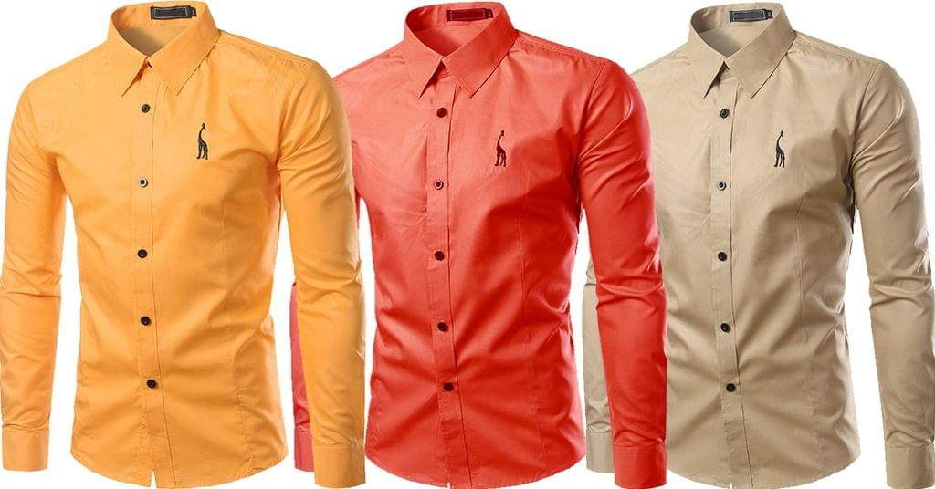 Combo of 3 New Long Sleeve Fashion Design Slim Fit Casual Button-Down Shirts For Man