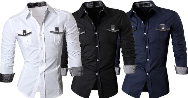 Combo of 3 New Casual With Long Sleeve Slim Fit Men's Shirts
