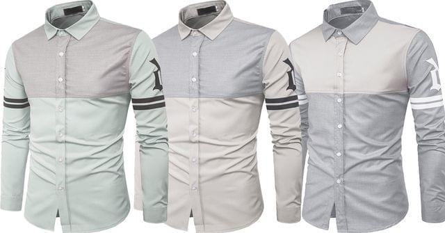 Combo of 3 New Fashion Skin Care Fight Color Print Long Sleeve Shirts for Men