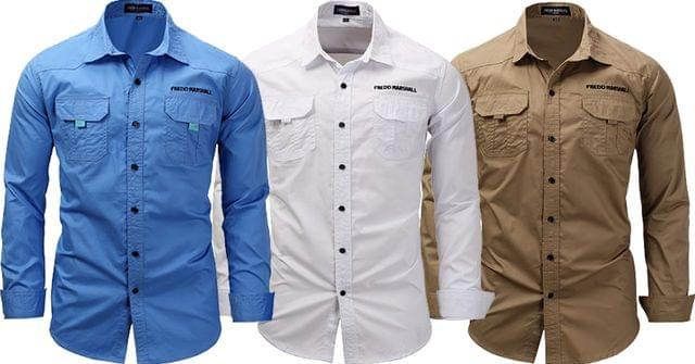 Combo of 3 New Solid Color Long sleeves business style Men's Denim Shirts