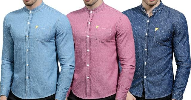 Combo of 3 Branded Long Sleeve Slim Fit Polka Dots Casual Denim shirts for men