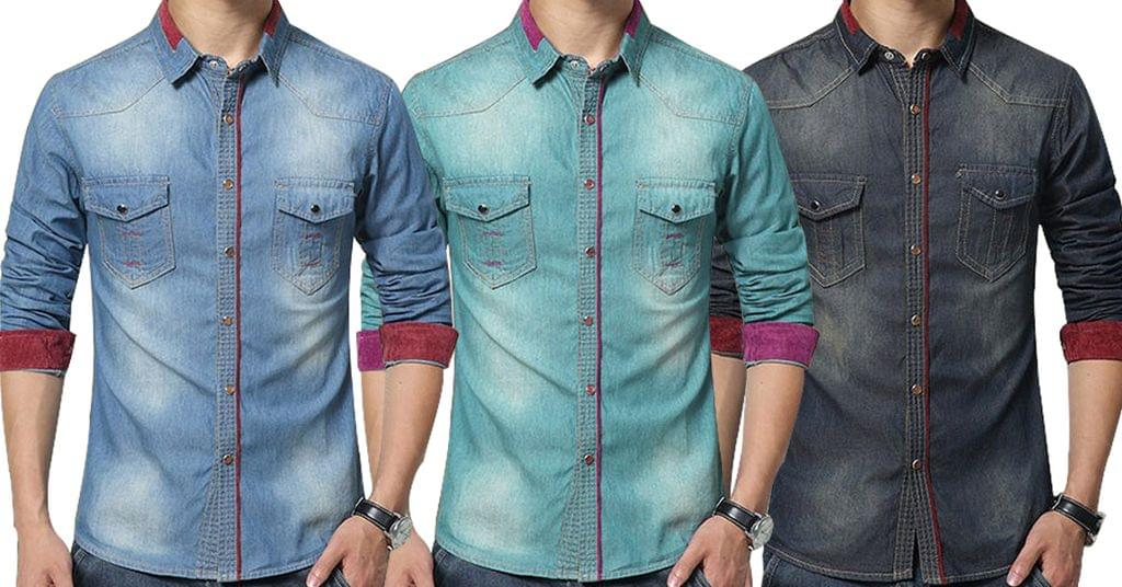 Combo of 3 Denim Fashion New long sleeves Slim Fit red collar quilting shirts for Men